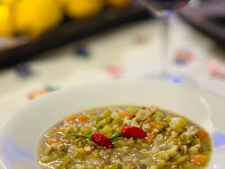 Chef Gianluca Deiana Abis: Zuppa Di Farro e Lenticchie/ Lentil And Barley Soup