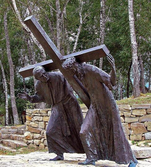 95911-Pasierbiec Luke 3 Carrying cross john Paul II Jesus Christian art today.jpg