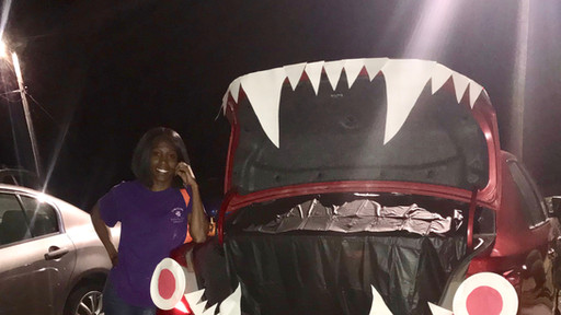 Be careful getting candy, this monster-car might gobble you up!