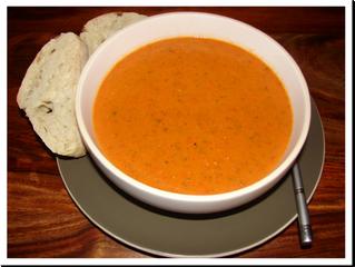Roasted Pepper Soup (V) (serves 3, preparation time 30 minutes, cooking time 45 minutes)
