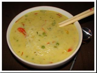 Coconut Laksa (Thai coconut soup) (V) (serves 4, preparation time 10 minutes, cooking time 20 minute