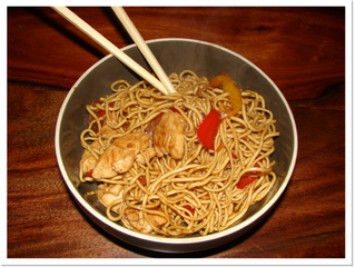 Chicken, honey and ginger stir fry (serves 2, preparation time 10 minutes, cooking time 10 minutes)
