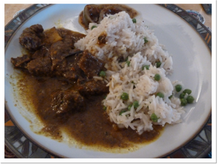 Curry goat  (Serves 2, preparation time 2.5 hours, cooking time 2-3 hours)