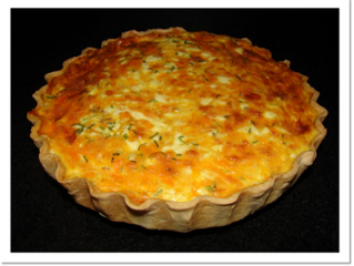 Cheese and onion quiche (v)  (preparation time 1 hour, cooking time 1 hour)