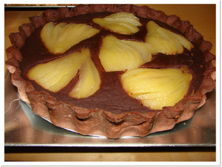Poached pear and chocolate tart (serves 8, preparation time 1 hour 30 minutes, cooking time 50 minut