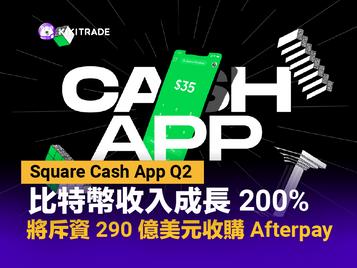 Square|Cash App Q2 比特幣收入成長 200%,將斥資 290 億美元戰略收購 Afterpay