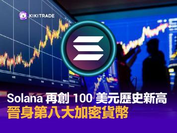 Solana 再創 100 美元歷史新高,晉身第八大加密貨幣