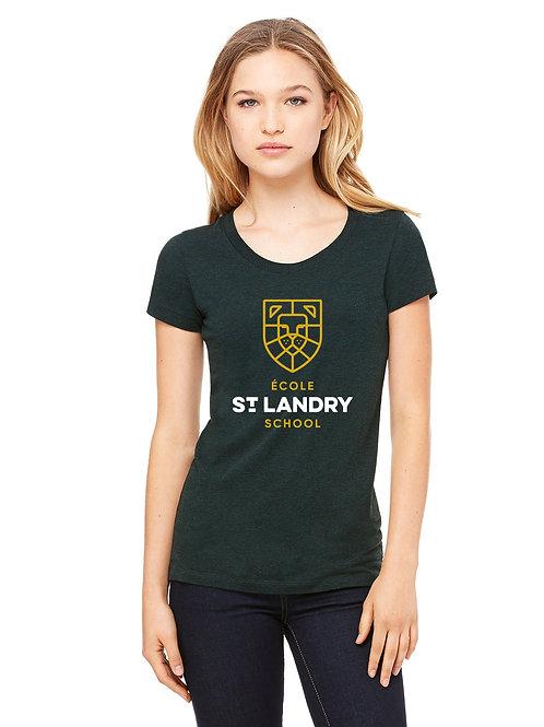 Ladies' Tri-Blend Short-Sleeve School Spirit Shirt (Emerald Green)