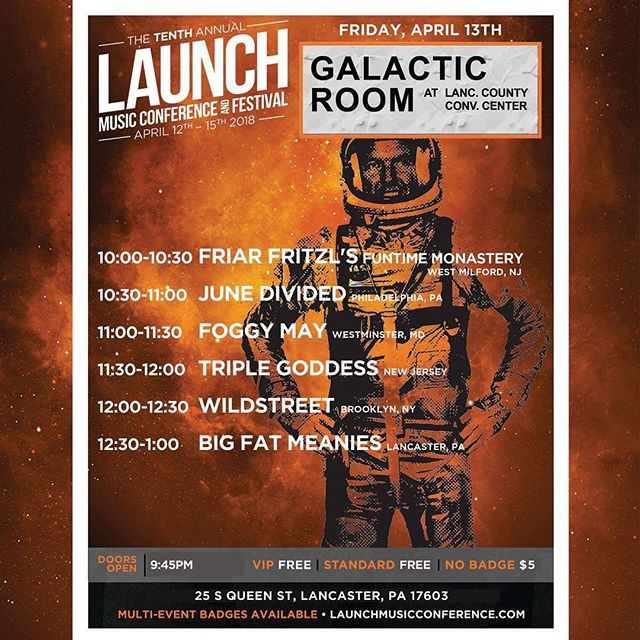 ⚔️🔪 Friday the 13th ⚔️🔪WIldstreet will be at The Galactic Room at The Launch Music Conference in Lancaster, PA