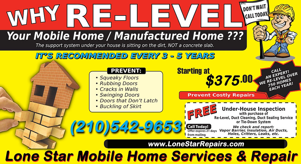 Lone Star Mobile Home Leveling | Relevel | Re-Levelig | Releveling