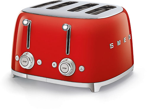 SMEG TSF03RDUS 50's Retro Style Aesthetic 4 Slot Toaster, Red
