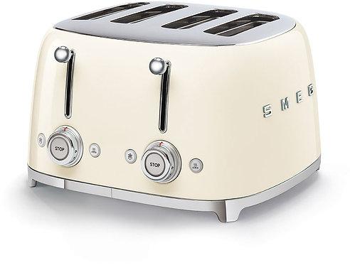 SMEG TSF03CRUS 50's Retro Style Aesthetic 4 Slot Toaster, Cream