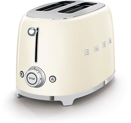 SMEG TSF01CRUS 50's Retro Style Aesthetic 2 Slice Toaster, Cream