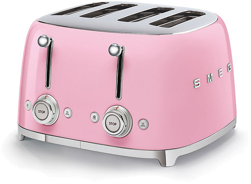 SMEG TSF03PKUS 50's Retro Style Aesthetic 4 Slot Toaster, Pink
