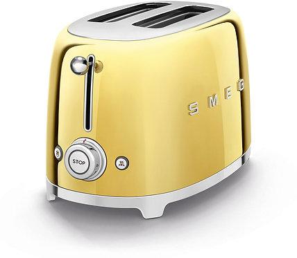SMEG TSF01GOUS 50's Retro Style Aesthetic 2 Slice Toaster, Gold