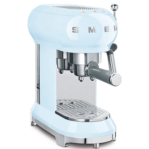 SMEG ECF01PBUS 50's Retro Style Aesthetic Espresso Coffee Machine, Pastel Blue