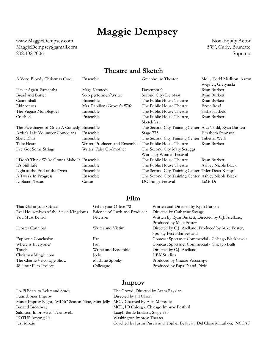 Maggie Dempsey Theatrical Resume 2020-2.