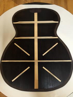 Rosewood guitar back bracing pattern