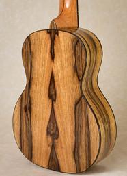 Back of spalted black limba tenor ukulele
