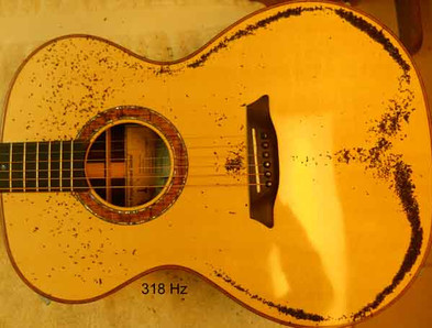 Phi proportioned guitar Chladni pattern, cross dipole at 318 Hz