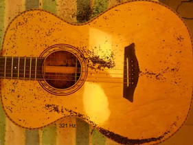 Koa phi guitar top plate Chladni pattern cross dipole at 321 Hz