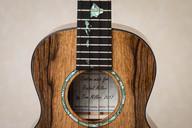 Tenor ukulele with Hawaiian Islands inlaid in fretboard