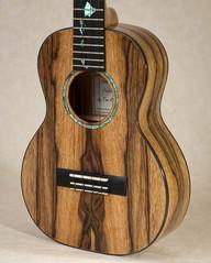 Spalted black limba tenor ukulele with ziricote binding