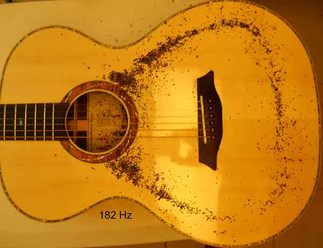 Phi proportioned guitar Chladni pattern, monopole at 182 Hz
