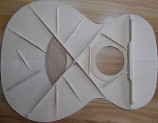 Carpathian spruce bracing pattern for phi proportioned guitar