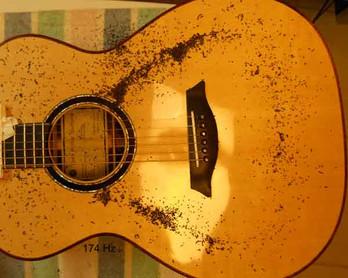 OM guitar Chladni pattern, monopole at 177Hz