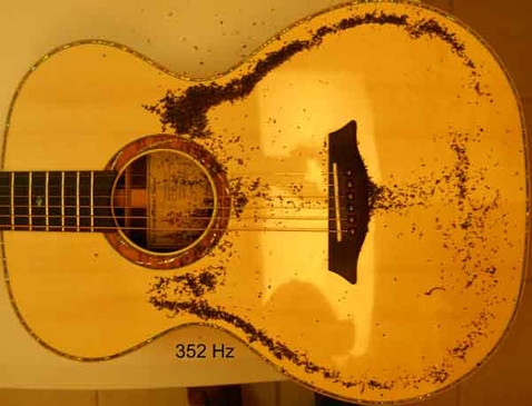 Phi proportioned guitar Chladni pattern, cross dipole at 352 Hz