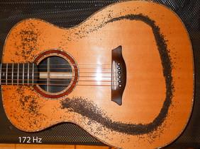 OM guitar Chladni pattern, monopole at 172 Hz