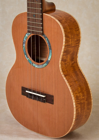 Curly mahogany tenor ukulele with cedar top