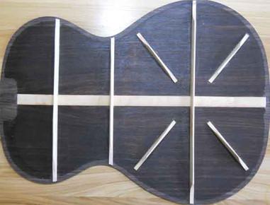 Rosewood phi guitar back bracing