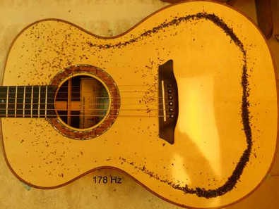 Phi proportioned guitar Chladni pattern, monopole at 178Hz