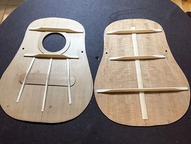 Bracing patterns of tenor ukulele