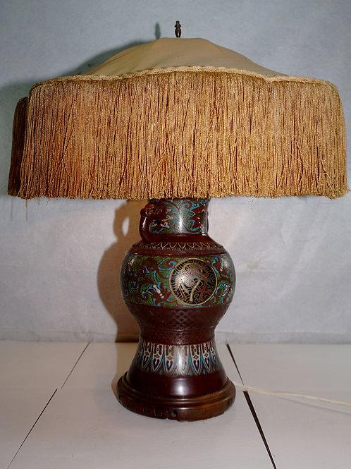 Champlevé / Cloisonné Table Lamp With Cloth Shade