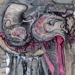 Gina Miller  Grey Brain Matter 55x75cm Acrylic Paint, Inks, Collage Papers  $700