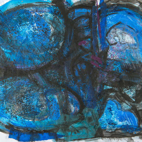 Gina Miller  Blue Polar Funk 55x75cm Acrylic Paint, Inks and Collage Papers  $700
