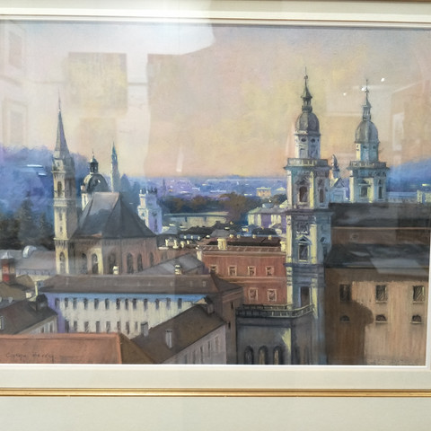 Cathie Berry  Rooftop, Salzburg 66x77cm Pastel framed  $1000