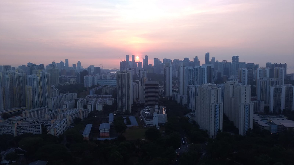 Sunset view from Mr Rim Yong's flat at City Vue. Photo: Rim Yong