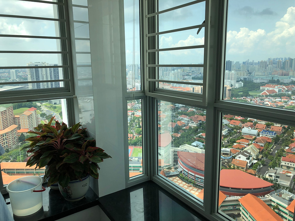 The view from Mr Harry Tan's 40th-storey flat at Bishan Street 24's Natura Loft. Photo: Wong Pei Ting/TODAY