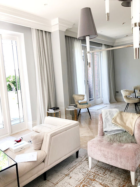 Voile curtains in living room , made by