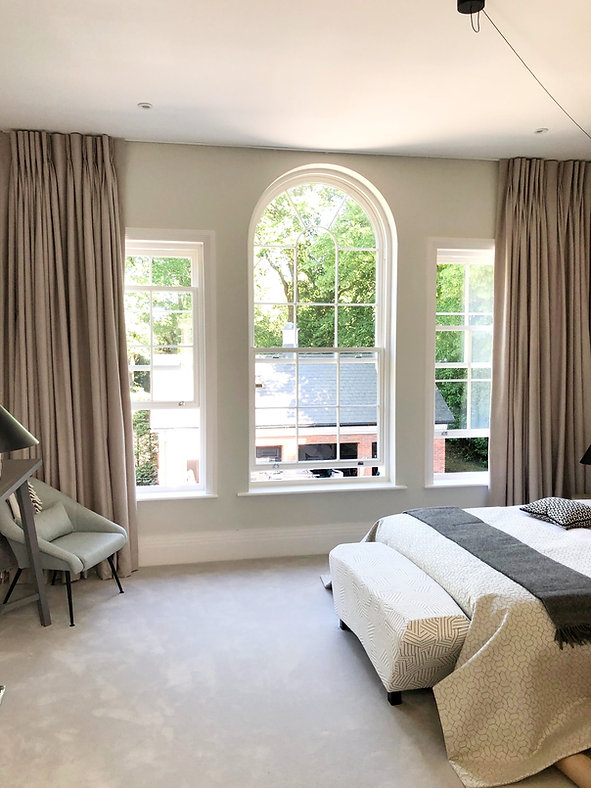 calm bedroom curtains , made by Studio L
