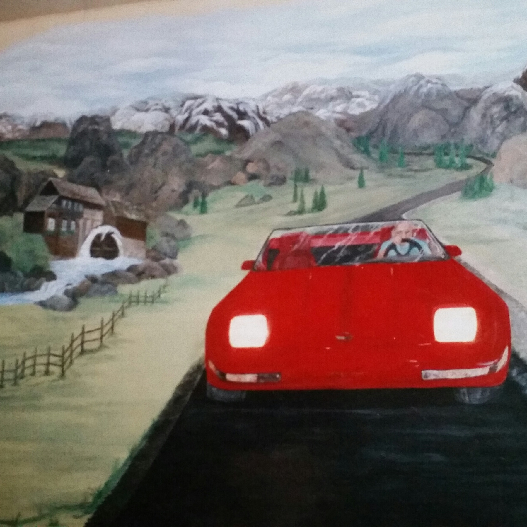 Part of a 2 car garage mural