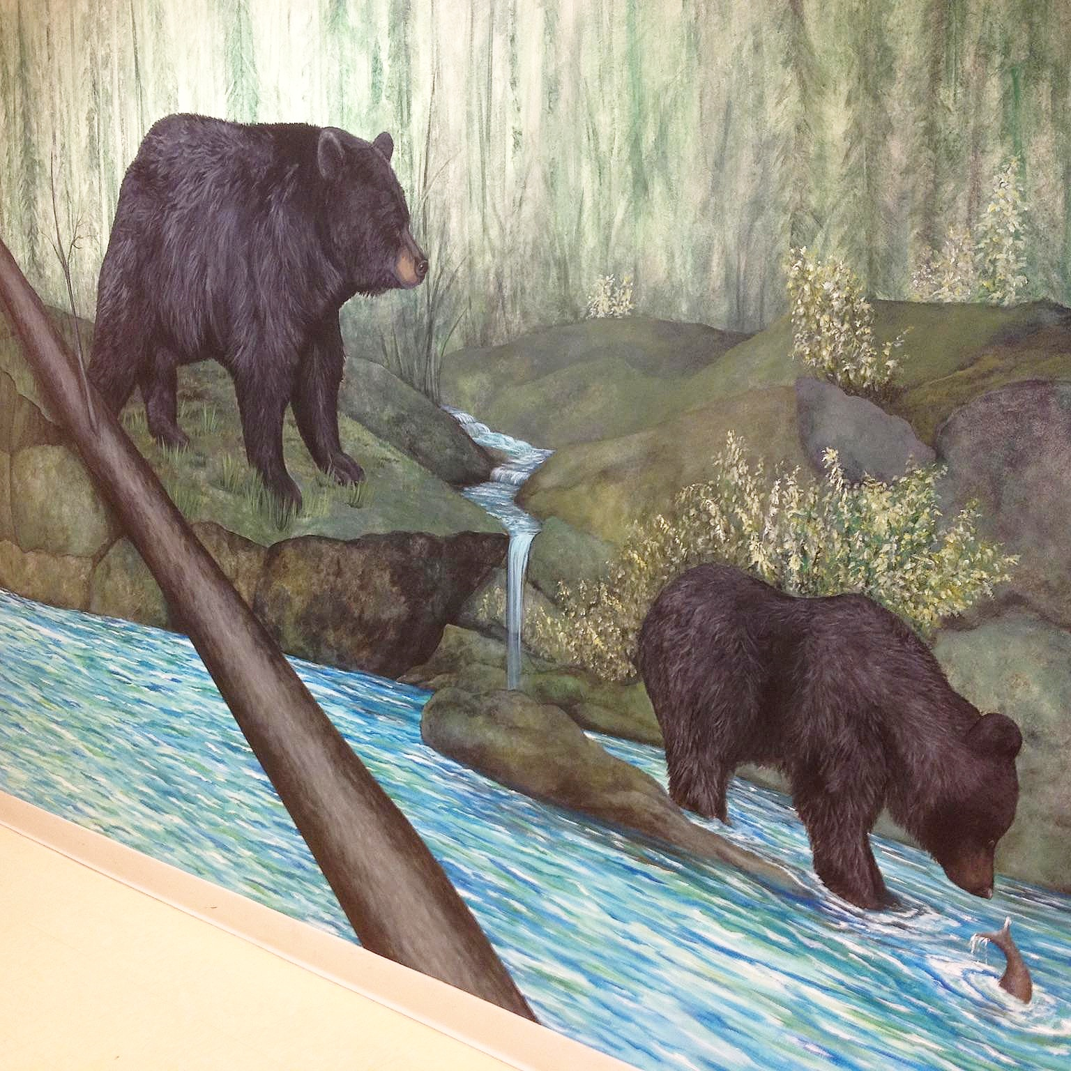part of a bear mural