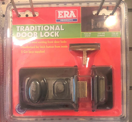 133-82 Era night latch 60mm green case brass cylinder