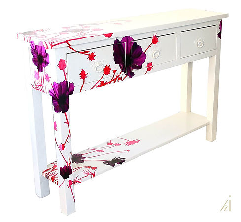 Console Restyled by Habitat Improver, bespoke decorative painting and photo decoupage