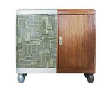 Restyled Cabinet by Habitat Improver, newspaper decoupage and silver leaf