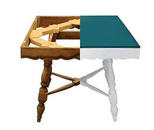 Restyled Square Table by Habitat Improver, matt white paint and emerald green lucite top